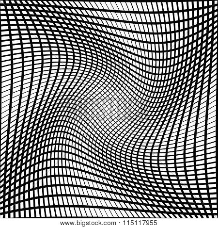 Abstract Grid, Mesh Background With Torsion Effect. Distorted Intersecting Lines.