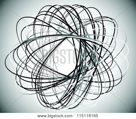 Abstract Vector Element: Circular Shape With Intersecting Lines. Vortex, Twirl Shape.