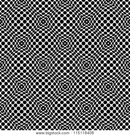 Circles With 3D Convex, Bulging Distortion Effect. Abstract Monochrome Background, Pattern. Seamless