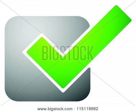 Green Check Mark, Tick Symbol, Icon. Vector Illustration.