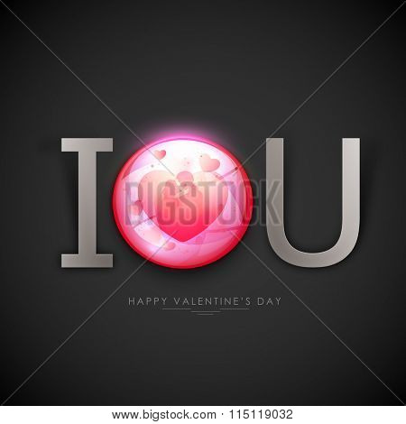 Stylish text I Love You with illustration of young couple in love for Happy Valentine's Day celebration.