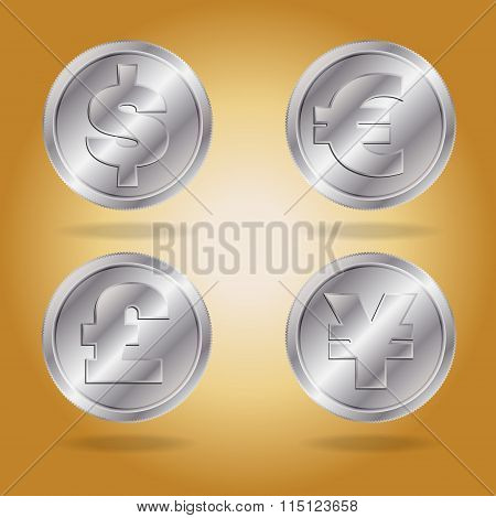 Symbols of various currencies.