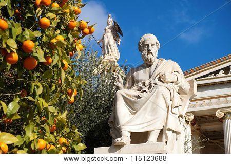 Plato and Athena Statue