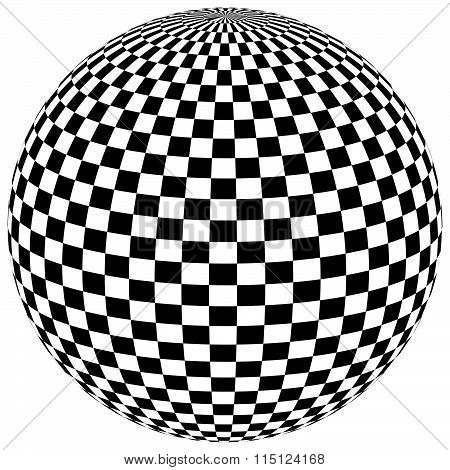 Ball, Orb With Checkered Surface On White. Abstract Surrealistic, Surreal Graphic Element. Vector