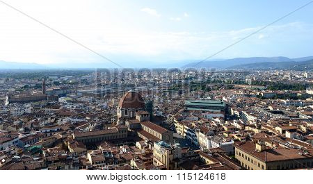 Skyline Of Florence, Italy, With Train Station