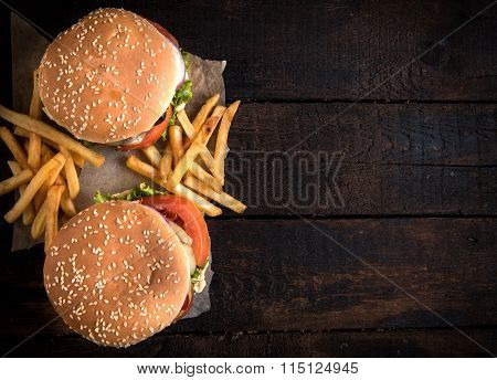 Beef Burgers And French Fries
