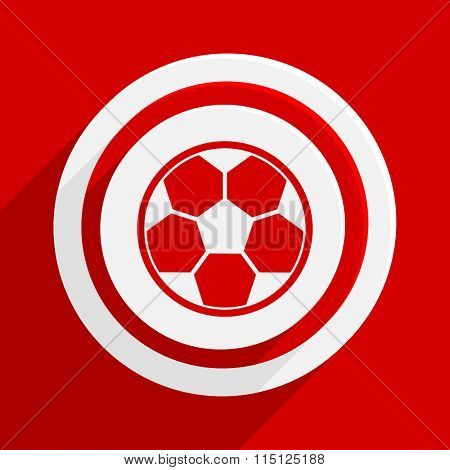 soccer red vector flat icon