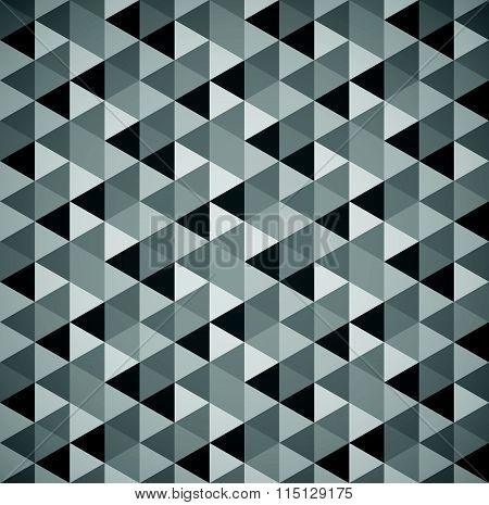 Grayscale Mosaic, Tessellation Background With Triangles. Seamlessly Repeatable