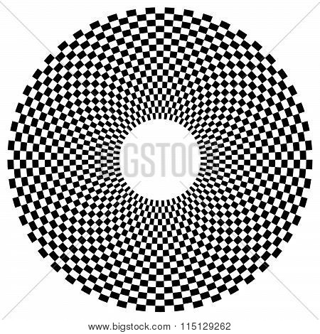 Abstract Radial, Circular Element With Checkered Surface.