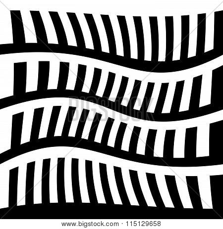Monochrome Background With Serrated Like Pattern. Abstract Vector Art.
