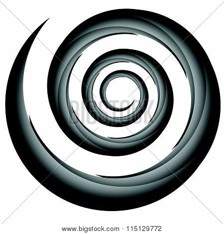 Abstract Spiral, Twirl Element, Volute Shape. Vector.