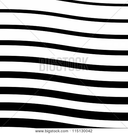 Wavy Lines Monochrome Abstract Image. Vector Illustration.