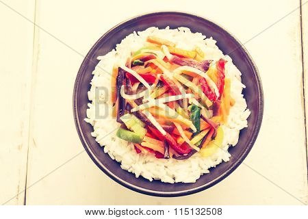 Vintage Photo Of Chinese Vegetable Mix With Rice