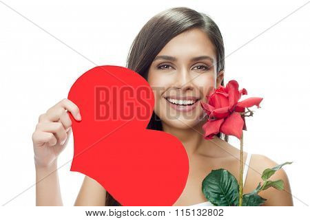 beauty portrait of young attractive caucasian smiling woman isolated on white studio shot with red heart valentine's day love rose flower