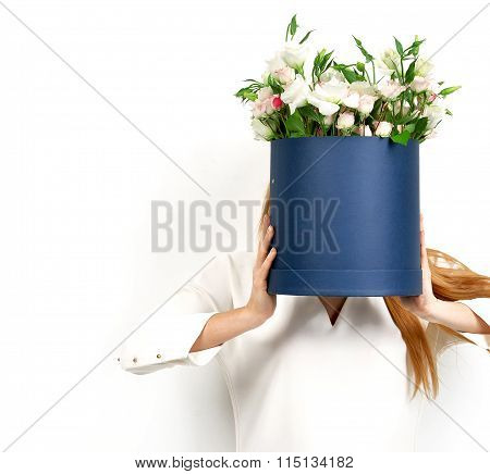 Woman With Bouquet Of Wild Roses Flowers Instead Of Head