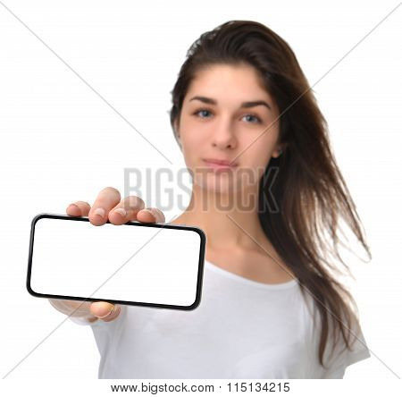 Young Happy Woman Show Display Of Mobile Cell Phone With Blank Screen