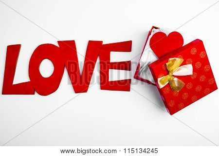 Open Red Box With Valentine Gift Heart