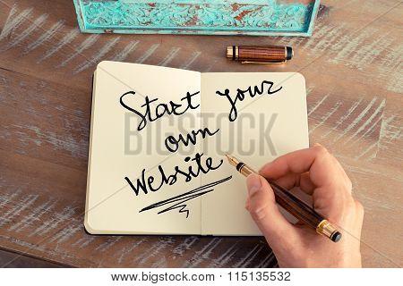 Handwritten Text Start Your Own Website