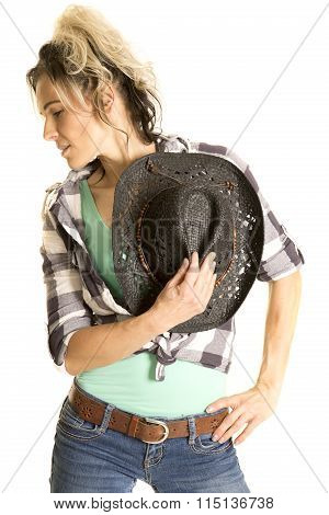 Cowgirl Plaid Shirt Black Hat In Front Look To Side