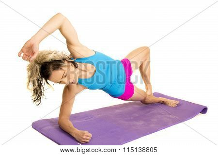 Woman Blue Tank And Pink Shorts Fitness Side Plank