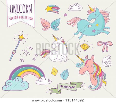 cute magic collection with unicon, rainbow, fairy wings