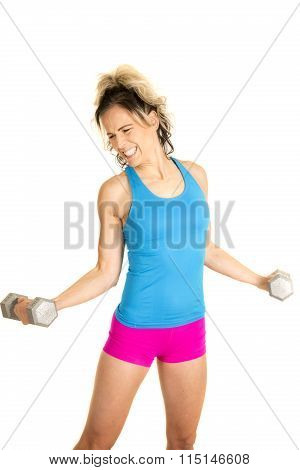 Woman Blue Tank And Pink Shorts Fitness Curl Hard