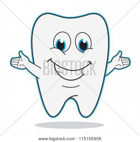 Cute cartoon teeth smile vector illustration dentist symbol