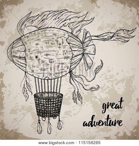 Vintage airship. Cartoon steampunk styled flying airship. Retro vector hand drawn illustration.