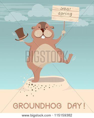 Groundhog Day. Vector Marmot Cartoons Illustration