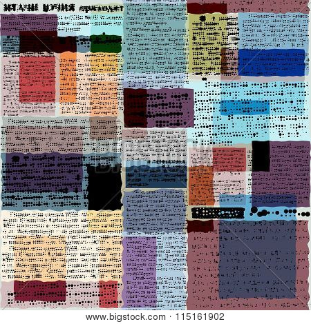 . Imitation of old newspaper, text is unreadable.
