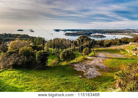 View On Green Coastline And Small Islands Near Vrsar - Vrsar Istria Croatia Europe poster