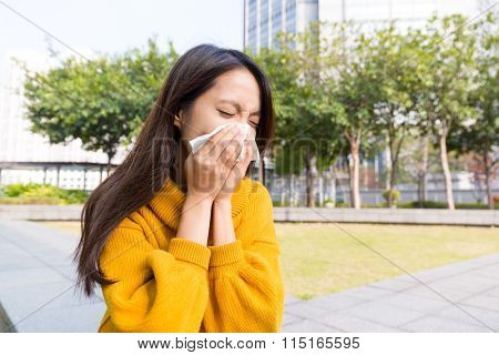 Young woman got nose allergy