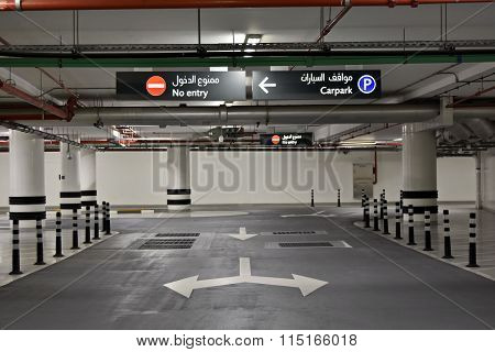 At the Basement Parking, carpark with signboard and details