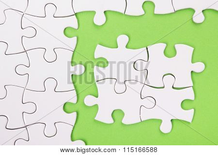 Missing jigsaw puzzle pieces. Compliting final task