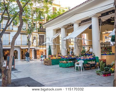 IBIZA SPAIN - MAY 23 2015. Little market in the Constitution Square in the center of the Ibiza old town.