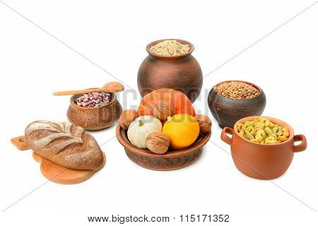 Food In A Ceramic Pot Isolated On White Background