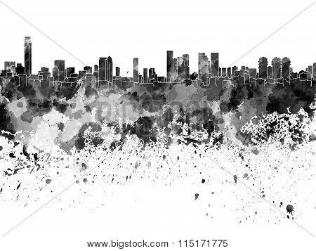 Tel Aviv Skyline In Black Watercolor On White Background