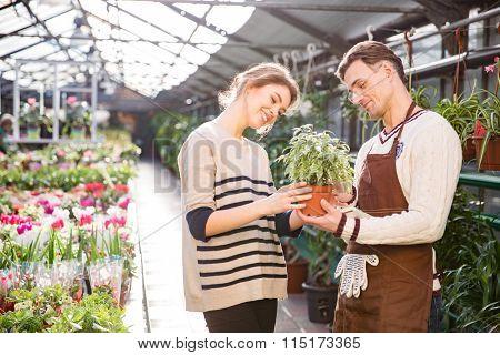 Cheerful attractive young woman with help of handsome man gardener choosing flowers in pot in garden center