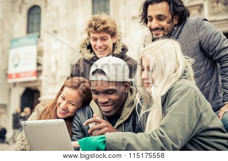 Group Of Friends Watching Funny Videos