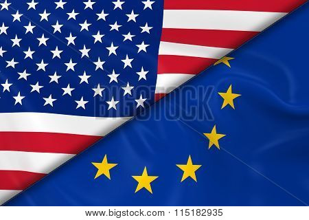 Flags Of The Usa And Europe Divided Diagonally - 3D Render Of The American Flag And European Flag Wi