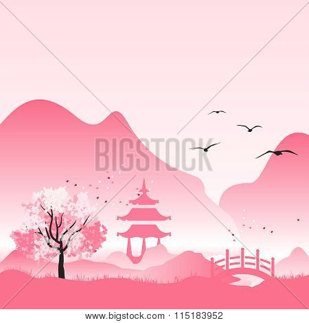 Vector Peaceful Japanese Rural Background