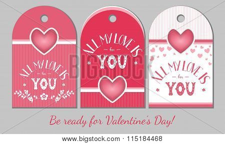 St Valentines Day present tags.