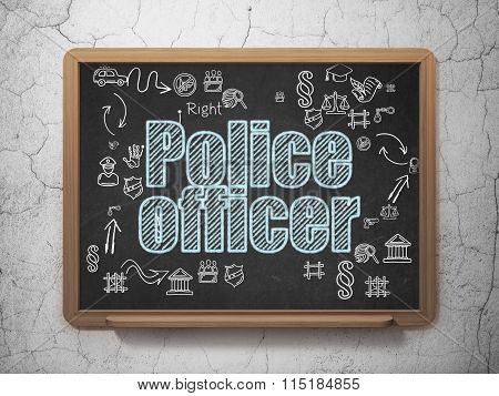 Law concept: Police Officer on School Board background