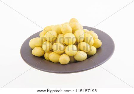 Peanutes Or Crispy Coated Peanuts On Background.