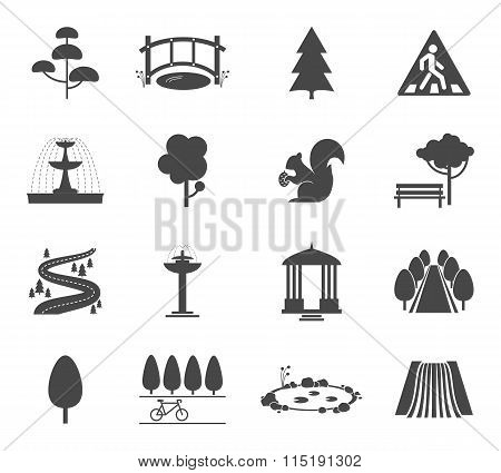 Park icons vector set
