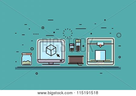 Digital 3D printing vector concept background