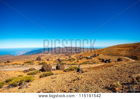 Volcanic landscape in national park of Teide on Tenerife island, Spain poster