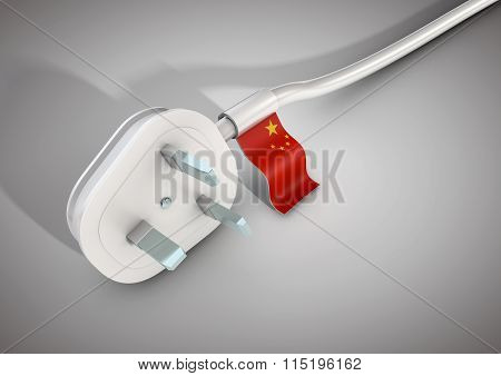 Electrical Power Cable And Plug With China Country Flag Attached.
