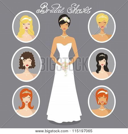 Bride  images set.Different Wedding hairstyle