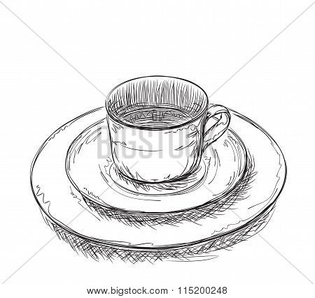 Hand drawn plate and cup